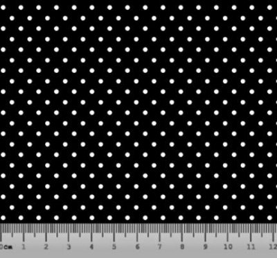 Tecido tricoline Poá Pequeno Preto e Branco