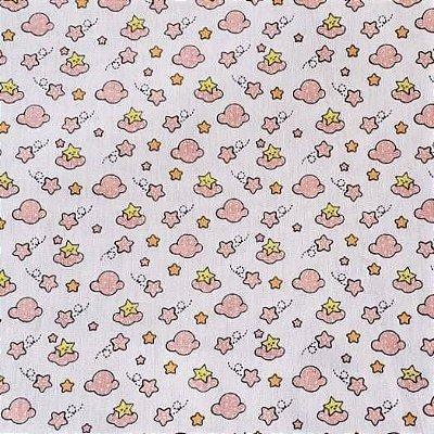 Tecido Tricoline Nuvens rosa