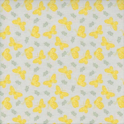 Tecido tricoline Borboletas Amarelas
