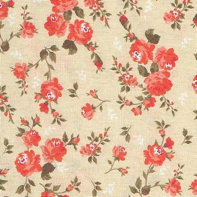 Tecido tricoline Flores delicadas Laranja