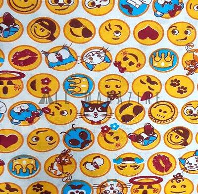 Tecido tricoline Emoji Fundo Bege