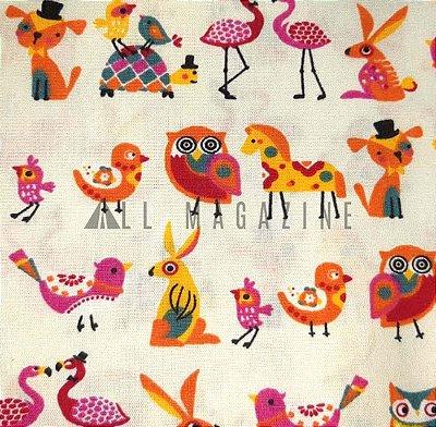 Tecido tricoline Corujas e Pássaros Fundo Bege
