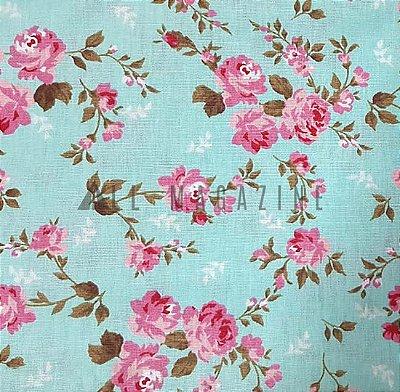 Tecido tricoline Floral de Rosas Clássico-Fundo-Turquesa