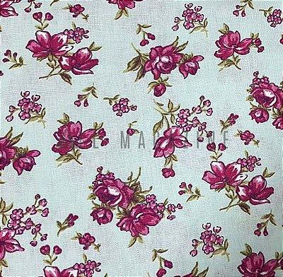 Tecido tricoline Floral Clássico Pink