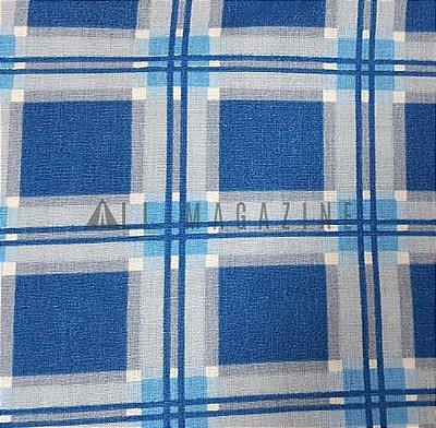Tecido tricoline Xadrez Grande Azul e Cinza
