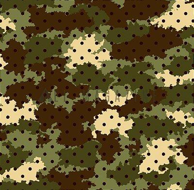 Tecido tricoline Camuflado Poá Verde