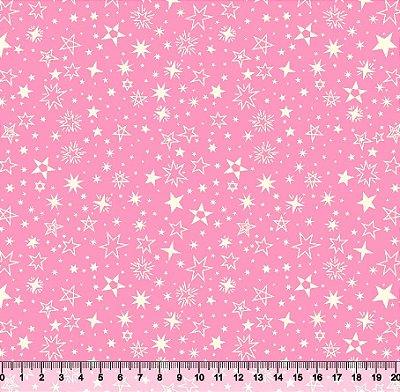 Tecido tricoline Estrelas Rosa
