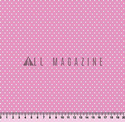 Tecido tricoline Mini Poá Bolinha Fundo Rosa