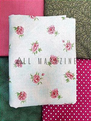 Kit Tecido Tricoline Rosas Poá Folhas Texturas
