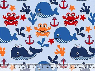 Tecido tricoline Âncora Baleia Mar
