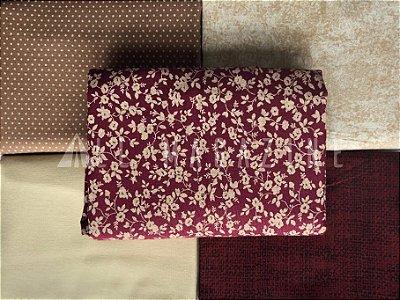 Kit Tecido Tricoline Textura Poá Folhas Liso