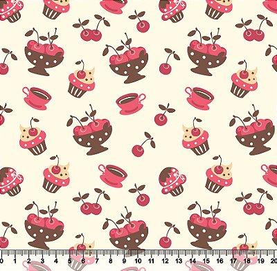 Tecido Tricoline Cerejas Cupcake