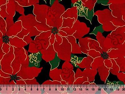 Tecido Tricoline Natal Flores Vermelhas