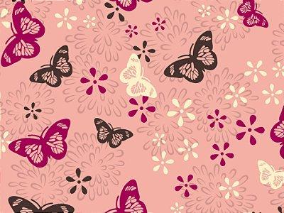 Tecido Tricoline Borboletas e Flor
