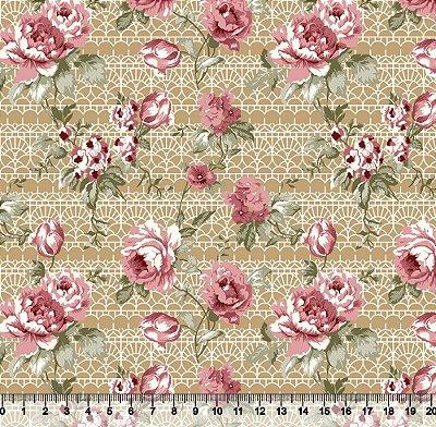 Tecido Tricoline Flores fundo abstrato
