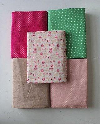 Kit Tecido Tricoline Rosa Poá Textura