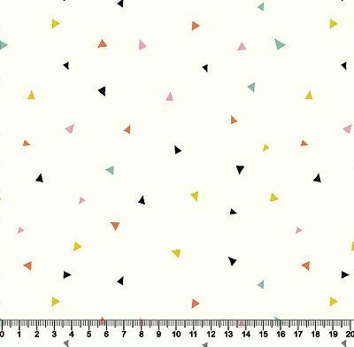 Tecido Tricoline Triângulos Coloridos