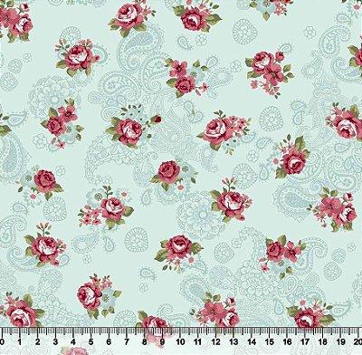 Tecido Tricoline Floral com Cachemir