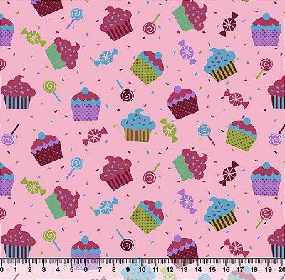 Tecido Tricoline Cupcake