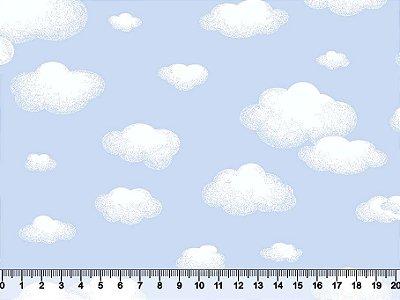 Tecido Tricoline Nuvens Azul