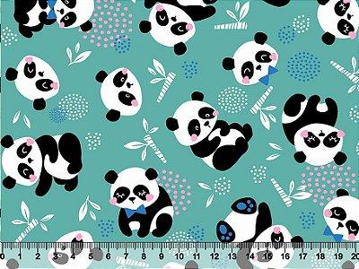 Tecido Tricoline Panda Sentado