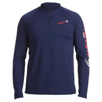 Camiseta Fishing co. Zíper ML UV UPF50 - Marinho