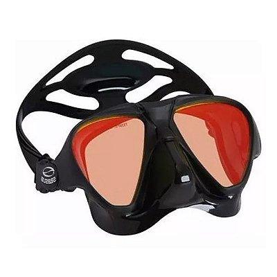 Máscara p/ Mergulho SeaSub Silicone Expert - Preta Espelhada