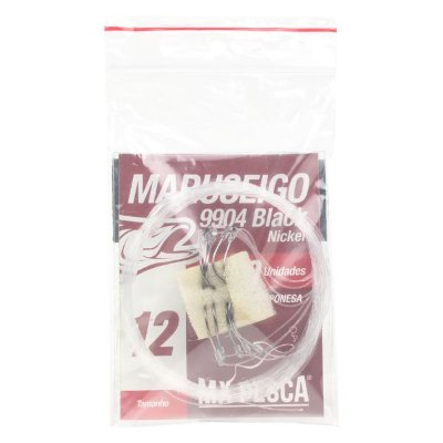 Anzol MX Pesca Maruseigo Black Nickel Empatado em Nylon Monofilamento