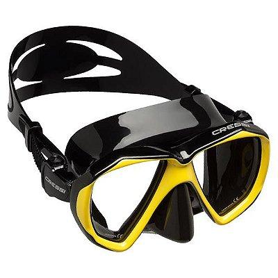 Máscara de Mergulho Cressi Silicone Ranger - Preto/Amarelo