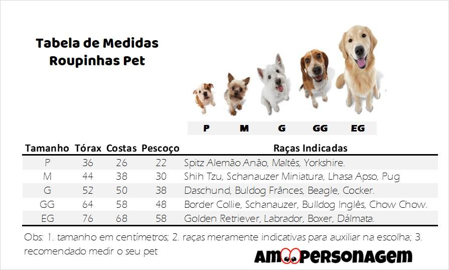 Tabela Medidas Pet