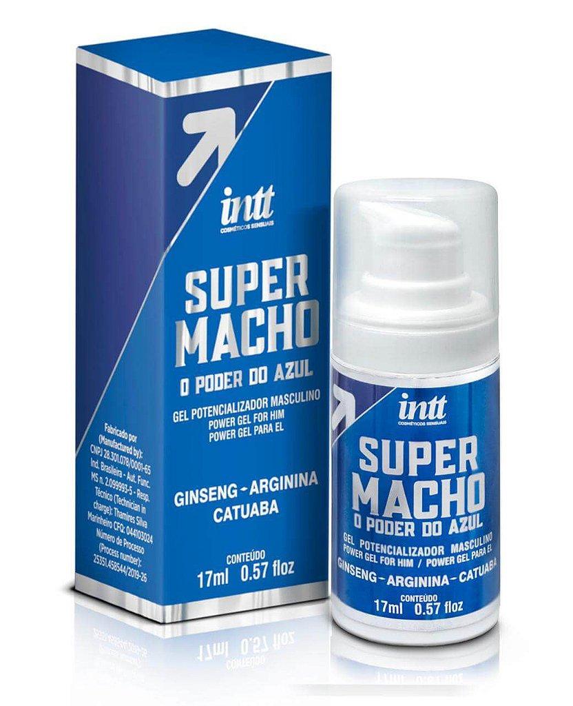 Embalagem e Produto Intt Super Macho O Poder Do Azul Gel Potencializador Masculino
