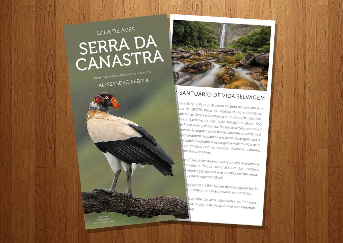 Guia de campo com aves da Serra da Canastra, em formato de bolso, com nomes em português e inglês. Excelente companheiro de viagem à região, disponível na Maritaca Store.