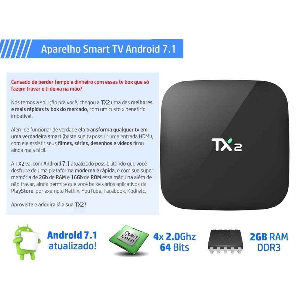 Tx2 Smart Tv Box Transformar Tv Em Smart