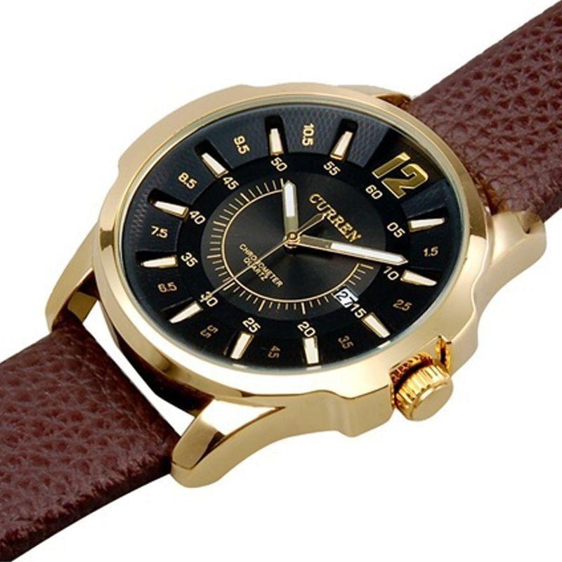 a272496b55e ... Relógio Masculino Curren Analógico 8123 Dourado e Preto - Imagem 2 ...