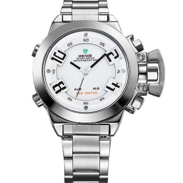 Relógio Masculino Weide Anadigi WH-1008 Prata e Branco - Imagem 1 ... fca3f89c6b9ff