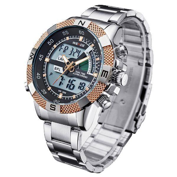 675d772a48d Relógio Masculino Weide Anadigi WH-1104 Dourado - ShopDesconto ...