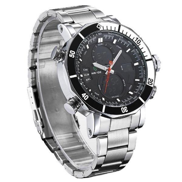 Relógio Masculino Weide Anadigi WH-5203 Prata e Preto - ShopDesconto ... ea1479aaca3cf