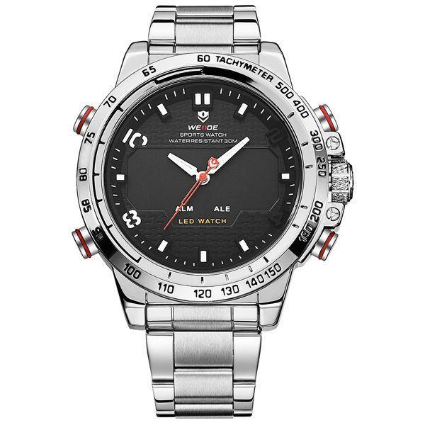Relógio Masculino Weide Anadigi WH-6102 Prata - ShopDesconto - Aqui ... d9fd3334fab93
