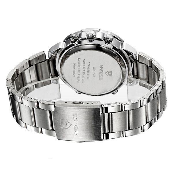 Relógio Masculino Weide Anadigi WH-843 Prata e Branco - ShopDesconto ... ab74b1601e8c3