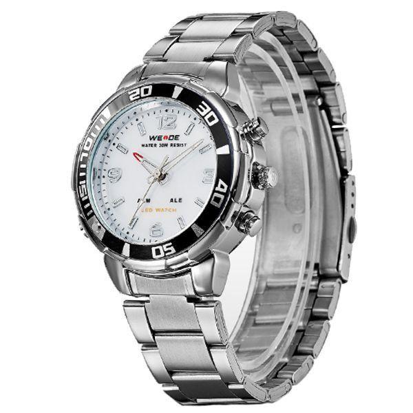 640823fefe Relógio Masculino Weide Anadigi WH-843 Prata e Branco - ShopDesconto ...
