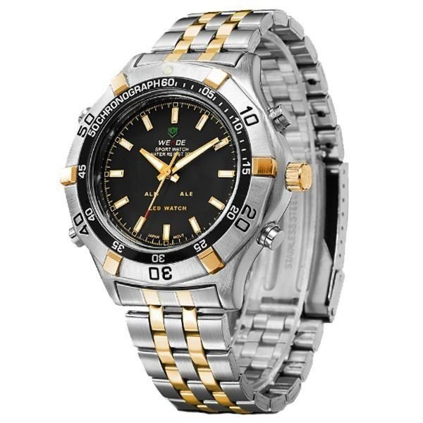 ... Relógio Masculino Weide Anadigi WH-905 Prata e Dourado - Imagem 2 ... 0721deaa6719e