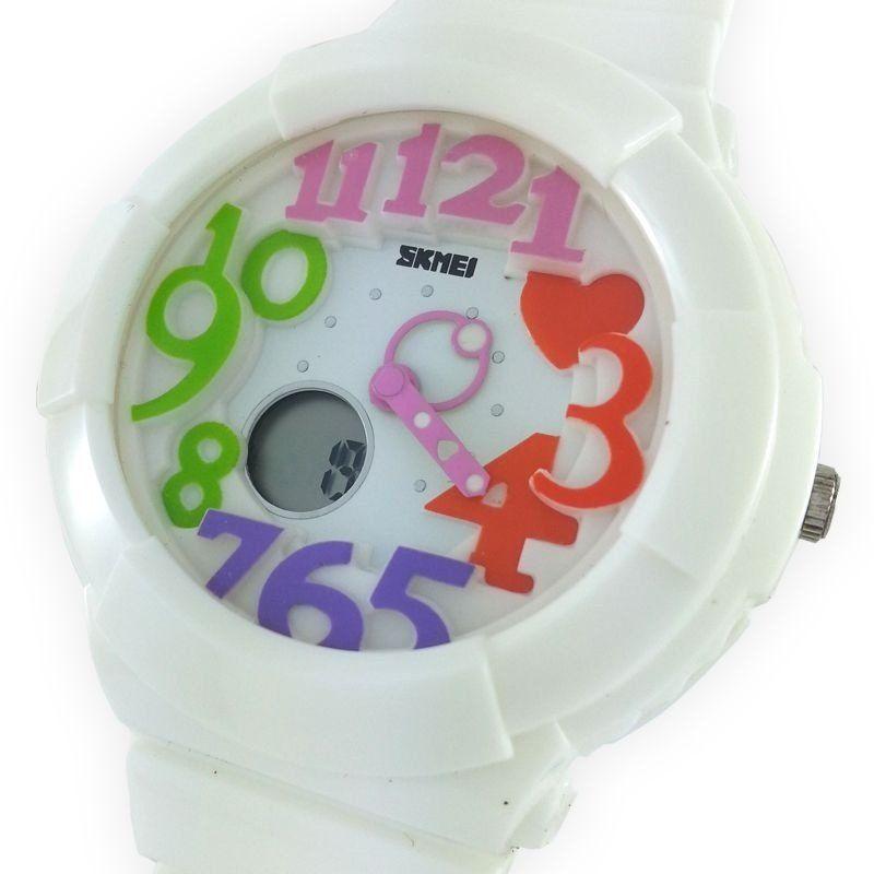 311862fbc52 Relógio Feminino Skmei Anadigi 1020 Branco e Colorido - ShopDesconto ...