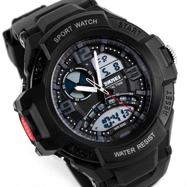 4ad4933af66 Relógio Masculino Skmei Anadigi 1017 Preto e Branco - ShopDesconto ...