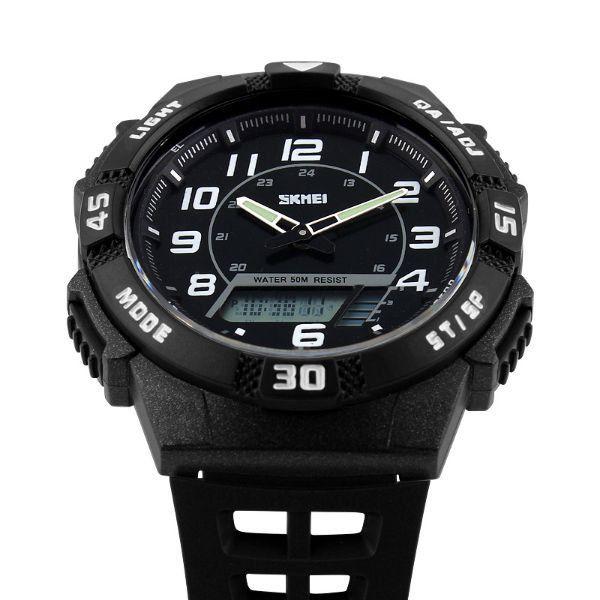 1838f23956a Relógio Masculino Skmei Anadigi 1065 Preto e Branco - ShopDesconto ...