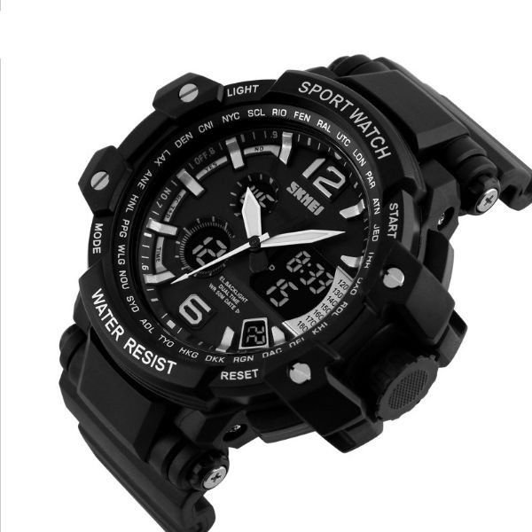 a4e07166344 Relógio Masculino Skmei Anadigi 1137 Preto e Branco - ShopDesconto ...