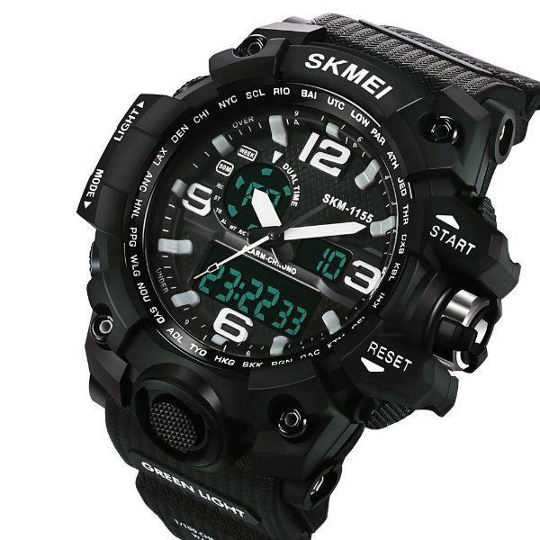 1f69366e8fb Relógio Masculino Skmei Anadigi 1155 Preto e Branco - ShopDesconto ...