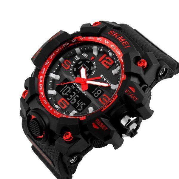 c4bbb2f9145 Relógio Masculino Skmei Anadigi 1155 Preto e Vermelho - ShopDesconto ...