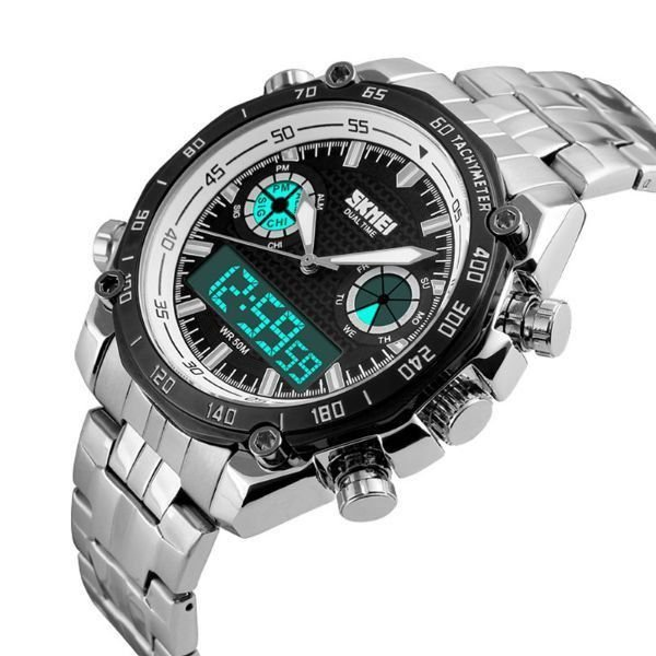 3bfaaeabb64 Relógio Masculino Skmei Anadigi 1204 Branco - ShopDesconto - Aqui ...