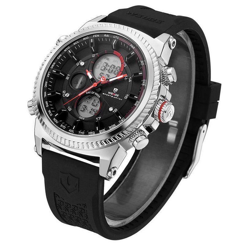 Relógio Masculino Weide Anadigi WH6403 Preto e Prata - ShopDesconto ... b6e1a17314113