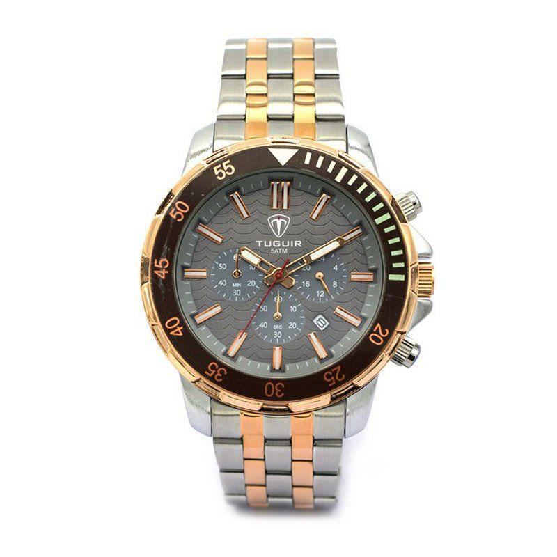 ead21efeed Relógio Masculino Tuguir Analógico 5008 Prata e Rose - ShopDesconto ...